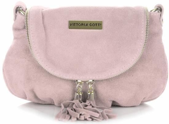 b81d2519a6941 Małe Torebki Skórzane Listonoszki Vittoria Gotti wykonane w całości z Zamszu  Naturalnego Pudrowy Róż