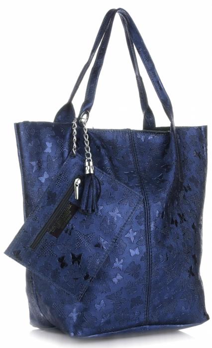 12585769b2558 Uniwersalna Torebka Skórzana ShopperBag firmy Genuine Leather w Motyle  Granatowa