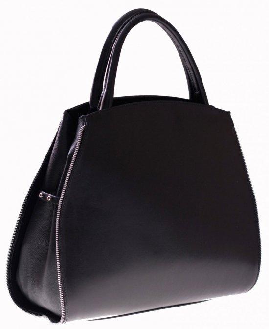Torebka skórzana kuferek z możliwością poszerzenia Czarna