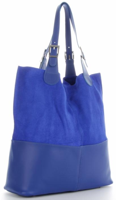 Torebka Skórzana Ekskluzywny Shopper bag Kobaltowa