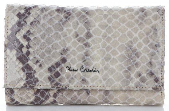 Pierre Cardin Firmowy Skórzany Portfel Damski z motywem Węża Beżowy