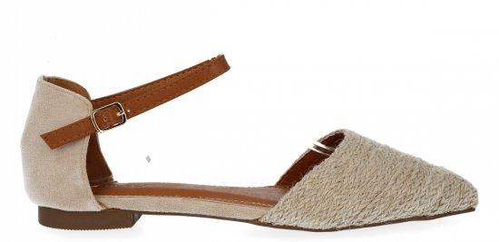 Beżowe sandały damskie w szpic firmy Bellucci
