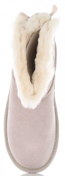 Włoskie Skórzane Botki Damskie Śniegowce ocieplane Naturalnym Futrem Beżowe