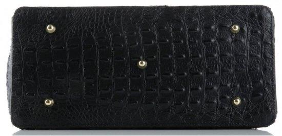 Duży Włoski Skórzany Kufer XL wzór Aligatora Czarny