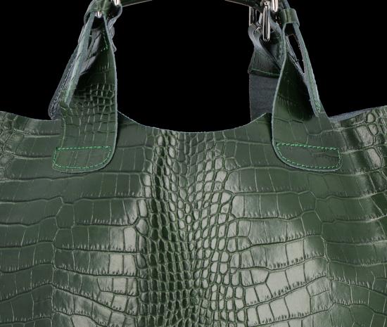 Vittoria Gotti Ekskluzywna Torebka Skórzana Shopper produkcji Włoskiej w modny wzór aligatora z Kosmetyczką Butelkowa Zieleń