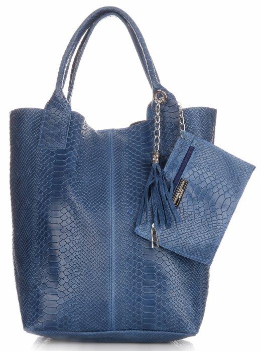 6b1aa51691e8e Włoskie Torebki skórzane typu Shopper bag Aligator Niebieska ...