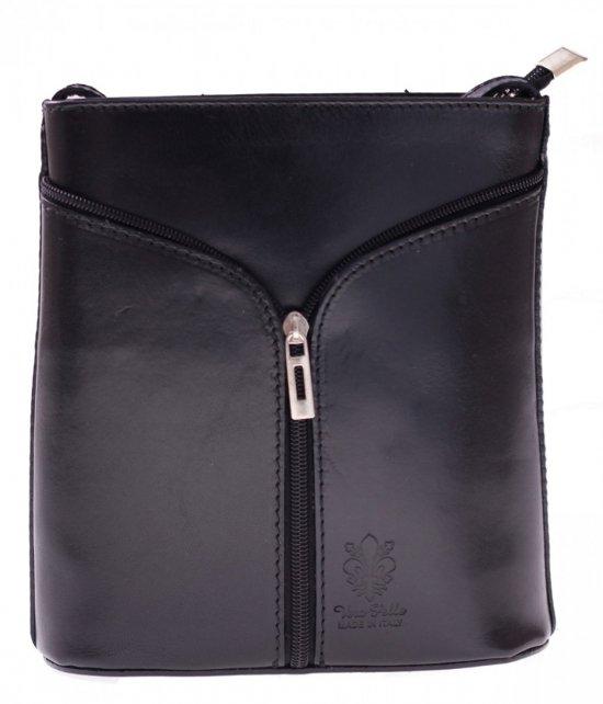 Skórzana torebka listonoszka Made in Italy Czarna