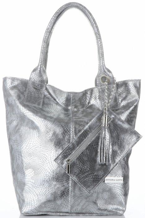 5c9bea16103da Vittoria Gotti Elegancki Skórzany Shopper z Etui w rozmiarze XL Srebrny