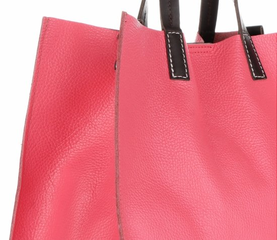 Praktyczne Torebki Skórzane 2 w 1 Shopper z Listonoszką firmy Genuine Leather Brudny Róż