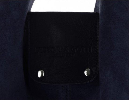 Duża Torba Skórzana Shopper XXL Vittoria Gotti Made in Italy zamsz naturalny wysokiej jakości Granatowa