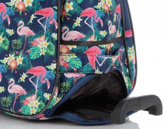 Torba Podróżna na kółkach ze stelażem Flamingi Or&Mi Multikolor Granatowa
