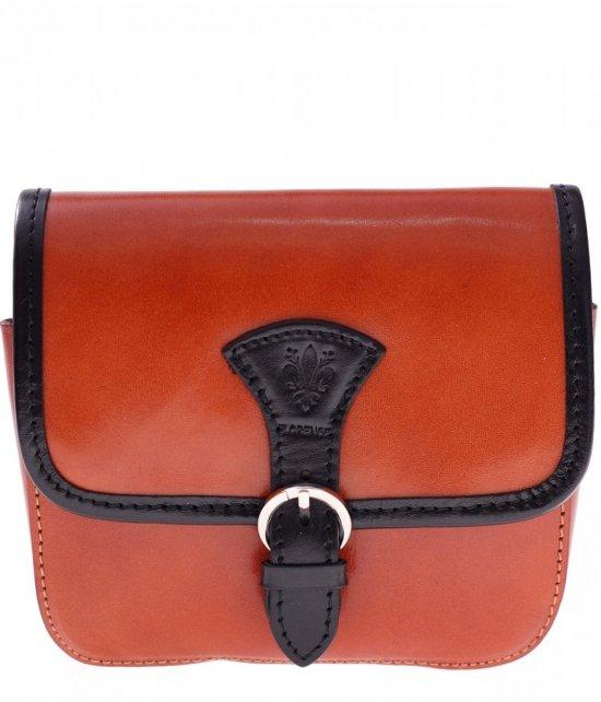 Kožené tašky messenger červený-haired s čiernou