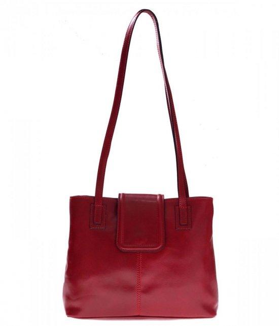 Univerzálne a ležérne kožené tašky 2 priehradky Červená