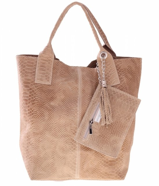 Talianska Kožená nákupná taška béžová