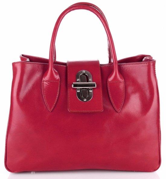 Taška Kožená taška vyrobená v Taliansku Červená