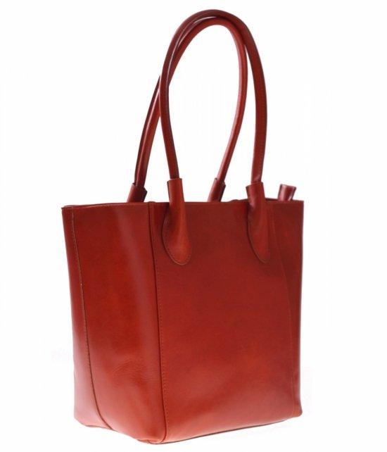 Kožená taška pravá koža rukoväť dĺžka červená