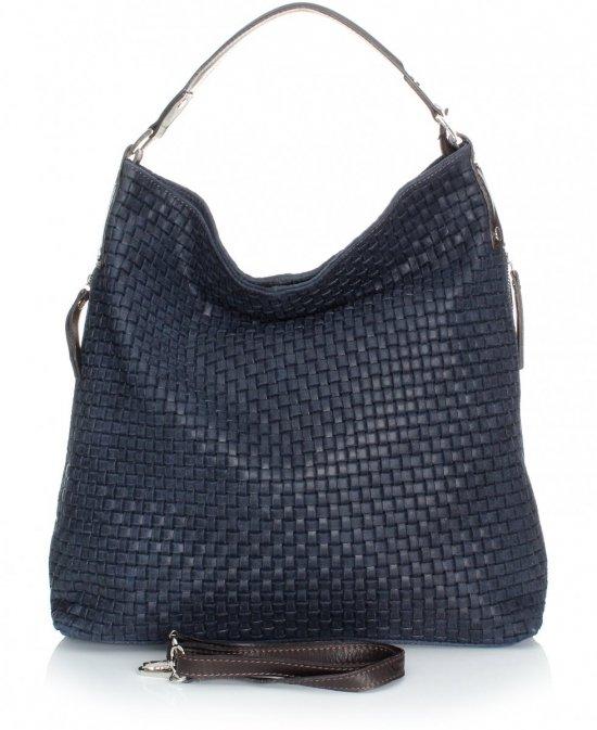 Univerzálna a príležitostná Kožená taška v tmavo modrej farbe