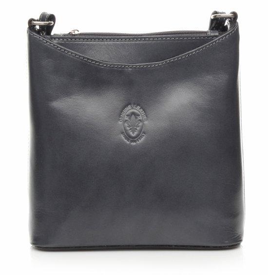 Messenger taška z pravej kože šedej