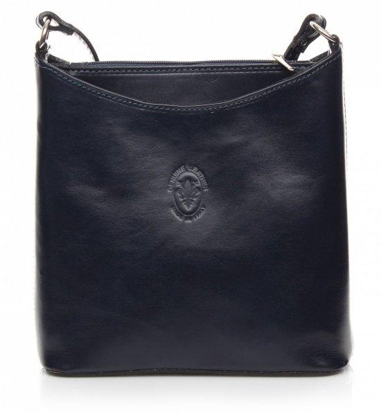 Kožená taška z pravej kože v tmavo modrej farbe