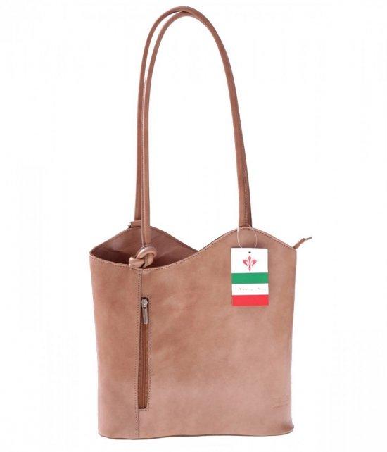 Kožená taška batoh vyrobený v Taliansku béžová