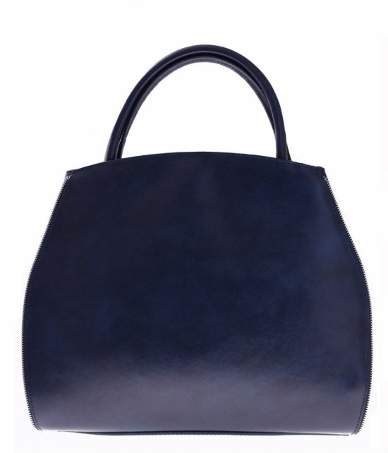 Taška Kožená taška s rozšíriteľnou tmavo modrou farbou