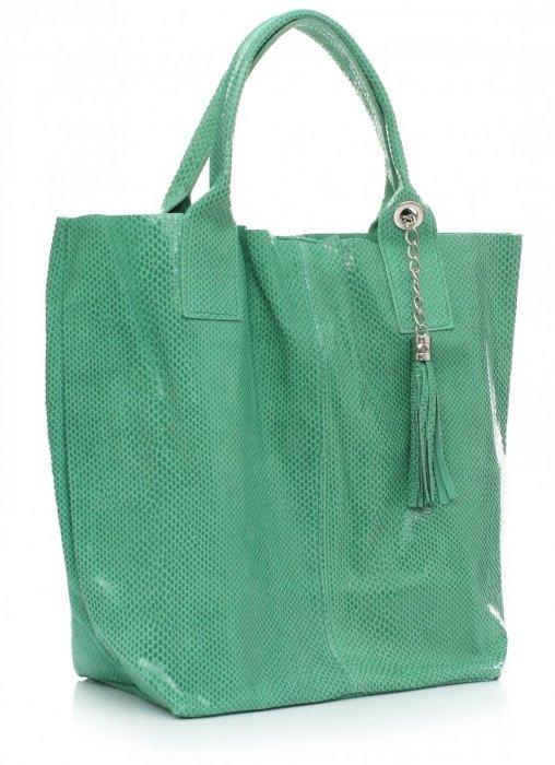 Shopper Bagi Patent Kožené Tašky Zelená