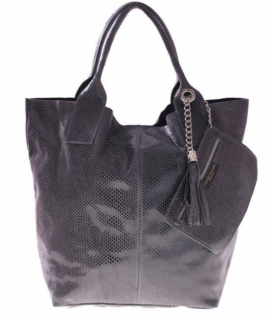 Shopper bagi kožené tašky, lakované šedé