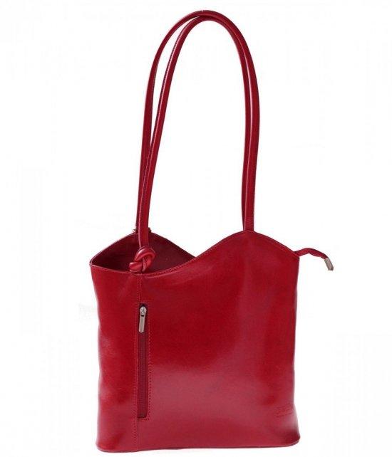 Kožená taška batoh vyrobený v Taliansku Červená
