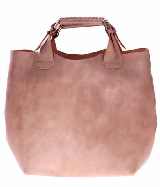 Shopperbag Kožená taška s kozmetickou taškou Béžová