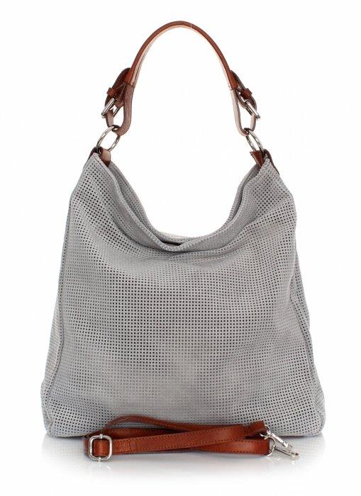 Univerzálna Kožená taška Azur svetlo šedá