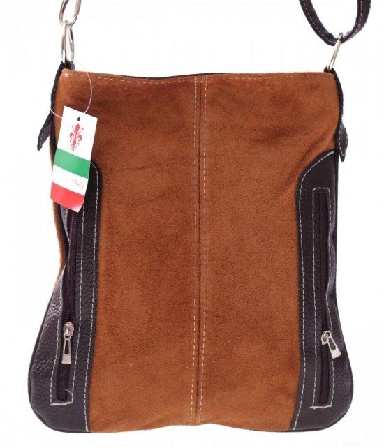 Messenger tašky vyrobené zo semišu nat. Ruda
