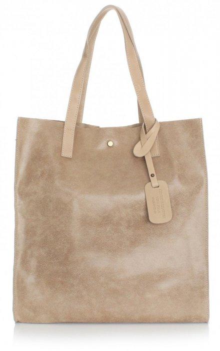 Kožená nákupná taška Shopper taška s kozmetickou taškou Béžová