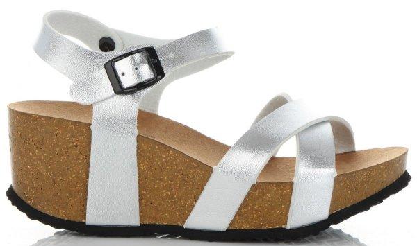 8c9f3199fb135 Stylowe Buty Damskie Koturny firmy Ideal Shoes Srebrne ...