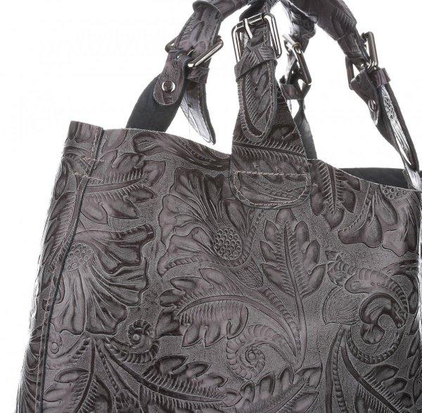 9176864d48fb1 Torebki Skórzane Genuine Leather Ponadczasowy ShopprBag z Kosmetyczką Szara
