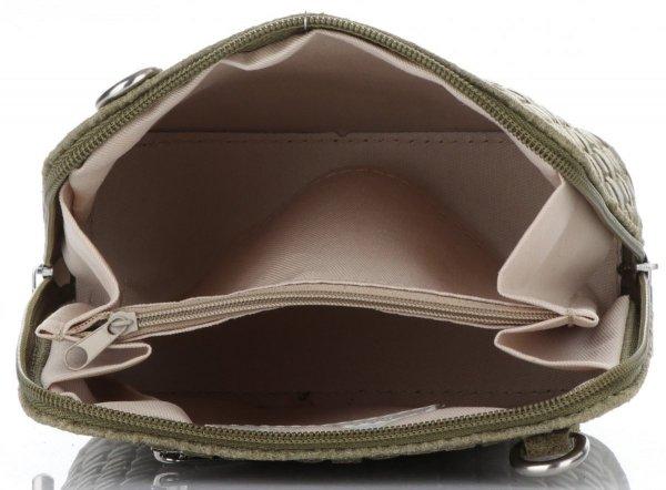 958debcb7156c Mała Włoska Torebka Skórzana Listonoszka firmy Genuine Leather Zielona