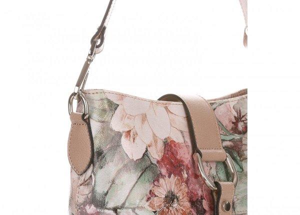 60dc42c371f20 Duża Torebka Listonoszka Skórzana Vittoria Gotti w Kwiaty Multikolor Różowa