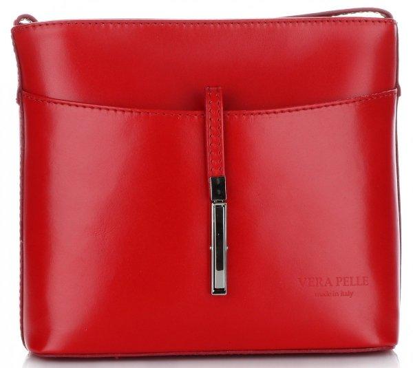 e8238479990d9 Włoska Torebka Skórzana Listonoszka wykonana z Solidnej Skóry Licowej  Czerwona