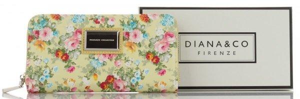 d3cd455e4905c Modny Portfel Damski XL wzór w kwiaty Diana&Co Multikolor Żółty