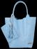 Modne Torebki Skórzane Shopper Bag XL z Etui firmy Vittoria Gotti Błękit