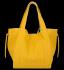 Vittoria Gotti Włoska Torebka Skórzana Shopper Bag z Kosmetyczką Żółta