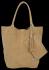 Vittoria Gotti Torebki Skórzane Typu ShopperBag XL Zamsz Naturalny Wysokiej Jakości Ciemno Beżowa
