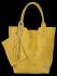 Włoskie Torebki Skórzane Shopper Bag w motyw aligatora firmy Vittoria Gotti Żółta