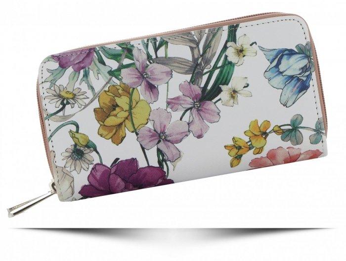 52fa4c50503930 Dwukomorowe Portfele Damskie XL we wzór kwiatów David Jones Multikolor  Różowy - Panitorbalska.pl