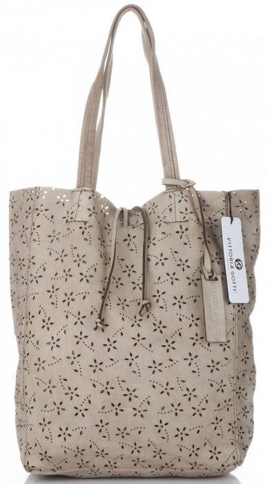 76b87cfc1 Vittoria Gotti Premium Torebka Skórzana Ażurowy ShopperBag w stylu ...