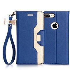 FYY Etui book case ze smyczką i lusterkiem - iPhone 7+/8+ (5.5) (niebieski)