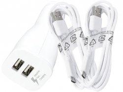 Szybka oryginalna ładowarka samochodowa FAST CHARGING Samsung  EP-LN920 2xUSB + 2 kable micro USB 1,5m  do NOTE 4 S6 S6 EDGE S7 S7 EDGE (biała)