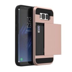 Dual Rugged Case Card Slide - Pancerne etui - Samsung Galaxy J5 2016 J510 (rose gold) + szkło hartowane