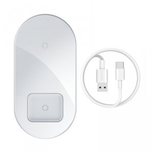BASEUS SIMPLE PRO 2IN1 WIRELESS CHARGER WHITE
