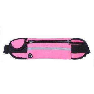 Pas do biegania saszetka nerka na bidon etui na telefon z wyjściem na słuchawki różowy