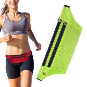 Pas do biegania saszetka nerka na etui na telefon z wyjściem na słuchawki zielony